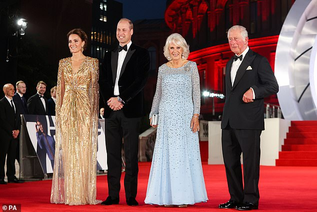 The Duchess of Cambridge , 39, was at her glamorous best as she joined husband Prince William , 39, and Prince Charles and the Duchess of Cornwall in the rare joint engagement