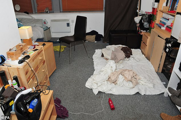 Officers searching Sinaga's flat (pictured) found cameras, memory cards, mobile phones, laptops and hard drives, which contained an online library of videos.
