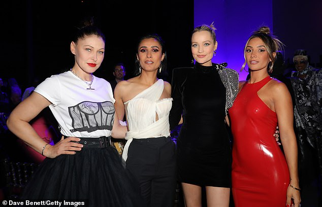 Fun: The star posed with Emma Willis, Anita Queen and Laura Whitmore