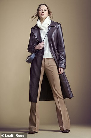 Coat, £389, hush-uk.com; sweater, £125, meandem.com; trousers, £138, reiss.com; bag, £130, jigsawonline. com; and boots, £85, charleskeith. co.uk
