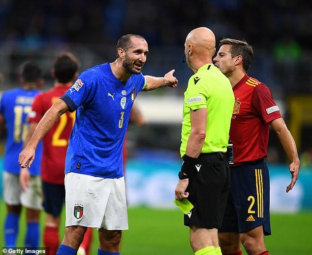 Italy hadcaptain Leonardo Bonucci sent off in a feisty encounter against Spain in Milan