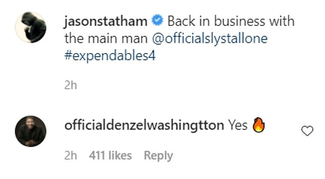 Wow!  Film icon Denzel Washington commented 'yes,' after two fire emojis before
