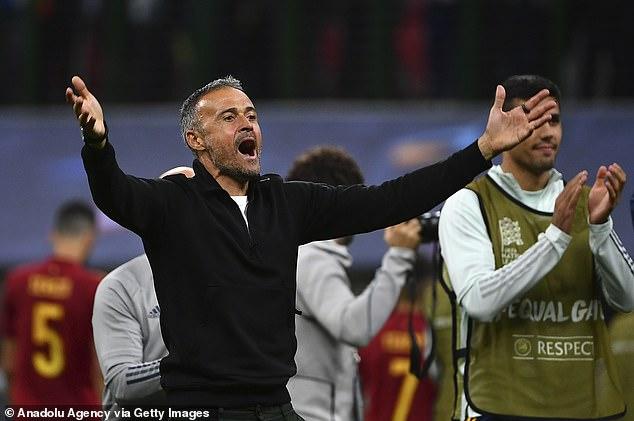 Spain coach Luis Enrique celebrates their Nations League semi-final win over Italy