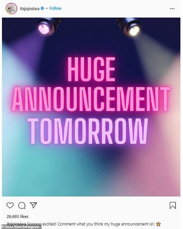 The Nebraska-born blonde - who boasts 61.8M social media followers - cryptically teased on Instagram: 'Huge announcement tomorrow. Sooooo excited!'