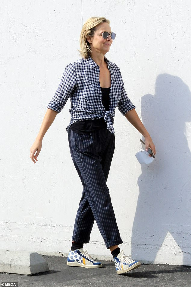 Fourth place:The Bold Type actress Melora Hardin wore a gingham top with pinstripe pants and polk-dot high top sneakers to rehearseQuickstep and Jazz numbers