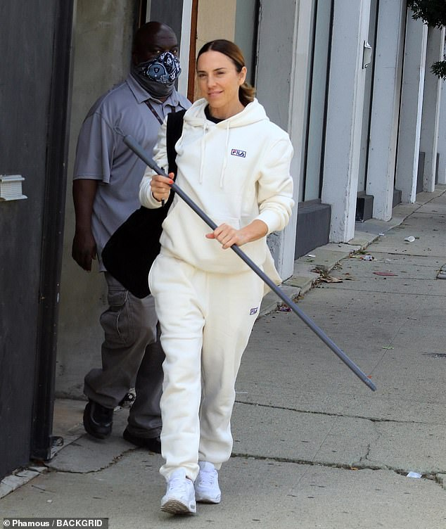 Prop from her next dance number? Coming in third place was Spice Girl Mel C (born Chisholm), who held a staff on her way out of rehearsals