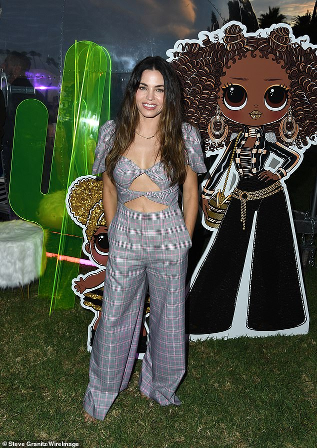 Taut tummy: The Rookie actress Jenna Dewan flaunted her fit 5ft2in figure in a sexy onesie at the premiere of LOL Surprise! The Movie at Hollywood Forever Cemetery on Wednesday