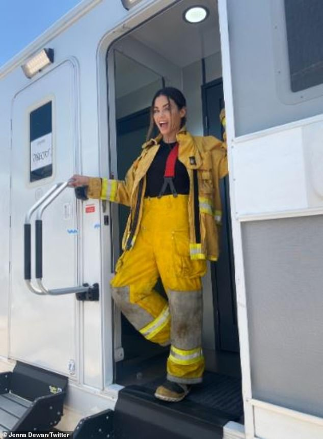 Excited? On Sunday, Dewan(pictured August 16) revealed on Twitter that there will be 'lots to come' for her firefighter character in the future