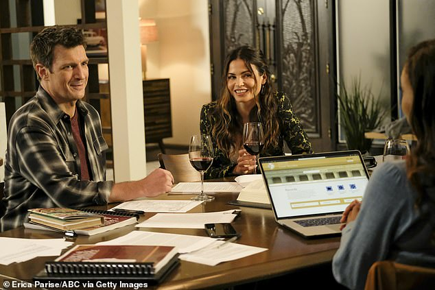 'In the Line of Fire':Jenna currently plays Bailey Nune, who's dating LAPD officer John Nolan (L, Nathan Fillion), in the fourth season of The Rookie, which airs Sundays on ABC