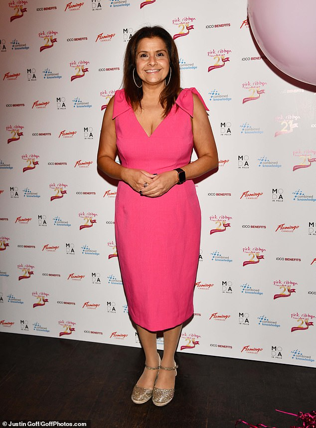 , Lizzie Cundy wows in a feathered pink dress as she steps out in style for the Pink Ribbon Foundation, The Today News USA