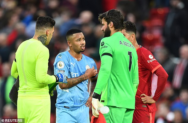 Manchester City's Ederson (L) and Gabriel Jesus (second from L), as well as Liverpool's Allison (second from R) will not be allowed to return from Brazil duty early