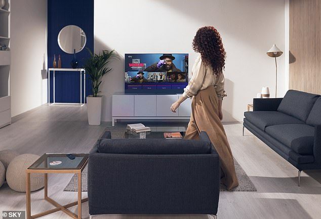 Customers can also talk to smart TVs like home speaker devices Alexa and Google Assistant by saying 'Hello Sky' and asking for a show or movie they want to watch.