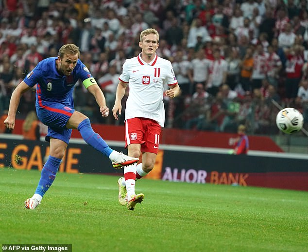 One of Kane's three England goals came in an game away to Poland in a World Cup qualifier