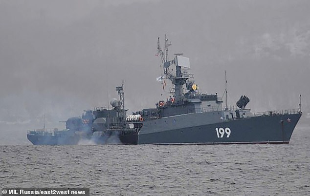 A small Russian anti-submarine ship, project 1124M, pictured during a naval exercise