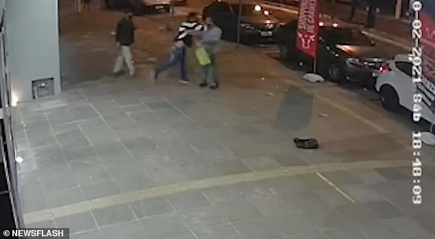CCTV footage from outside the butchers clearly shows two men step outside of the store to confront Lovato about his complaints, before one of them struck him in the face, appearing to knock him unconscious