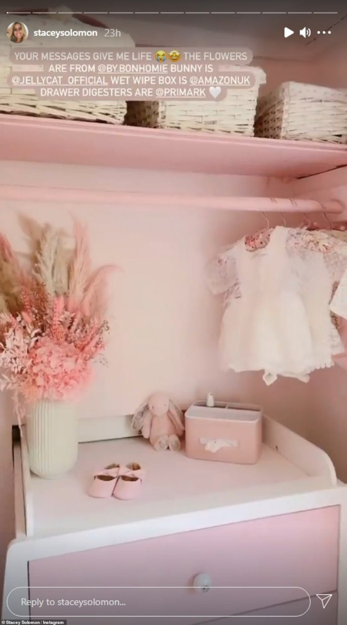 Finished Project: Bed.  For safety, the wall automatically locks upon returning to the up position.'  In another video shared earlier this year, Stacey shows her baby changing tables with a vase filled with neutral-colored dried flowers, tiny baby pink shoes, a jellycat rabbit teddy, and a pink wipe.