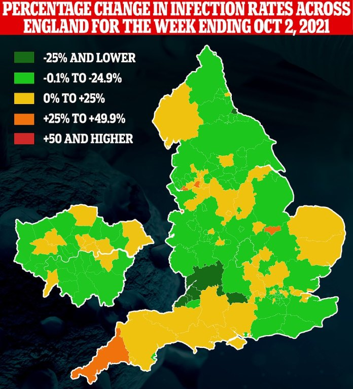 The map shows: the percentage change in the rate of cases in the authorities across England during the week ending 2 October