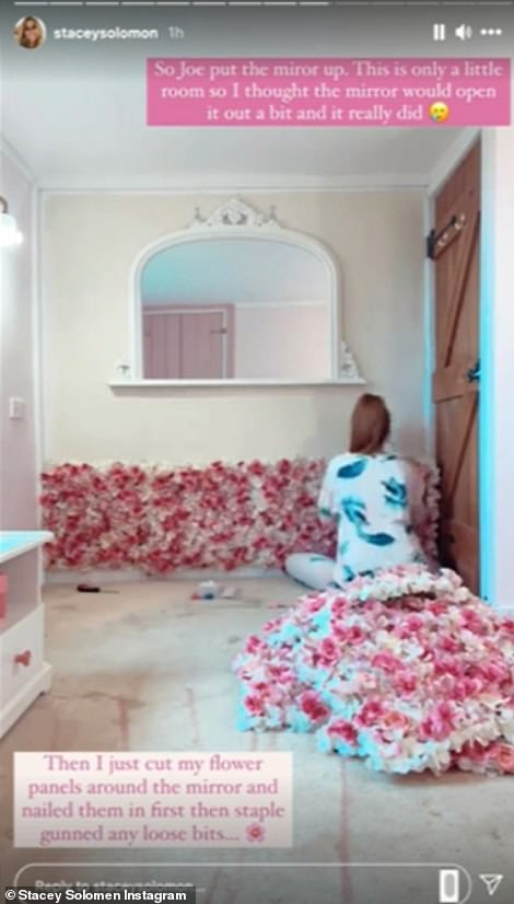 Amazing: One of the boldest elements of Stacey's nursery is the flower wall, which the star built herself using a glue gun and sheets of artificial flowers. [which Stacey calls Fejkas], in a process she documented on social media