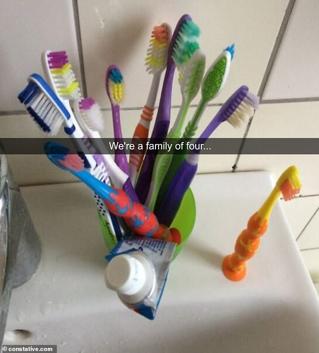 Another person reveals that the utensils in their bathroom are overflowing with toothbrushes as their family of four keeps on adding more without throwing away any old brushes