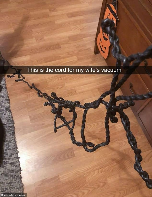 Another husband was taken aback by the amount of knots and tangles in the rope attached to his wife's vacuum cleaner