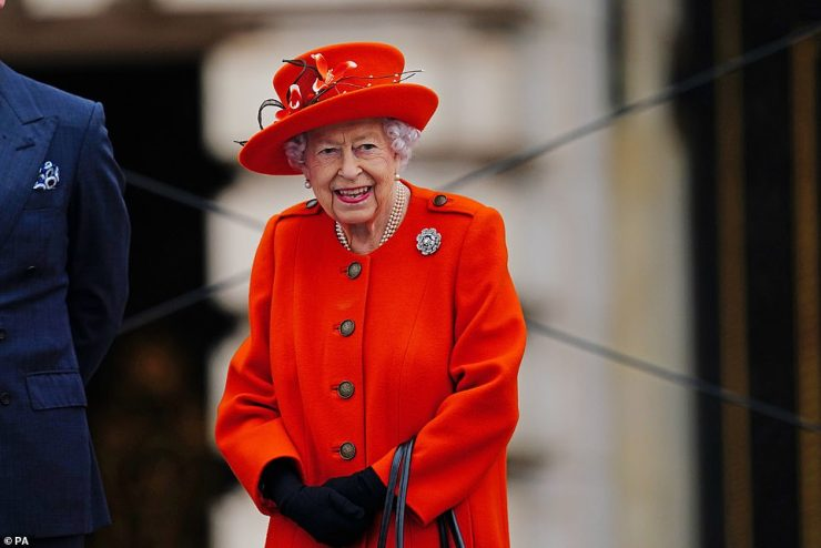 The occasion marked the Queen's first major engagement at Buckingham Palace since the pandemic began