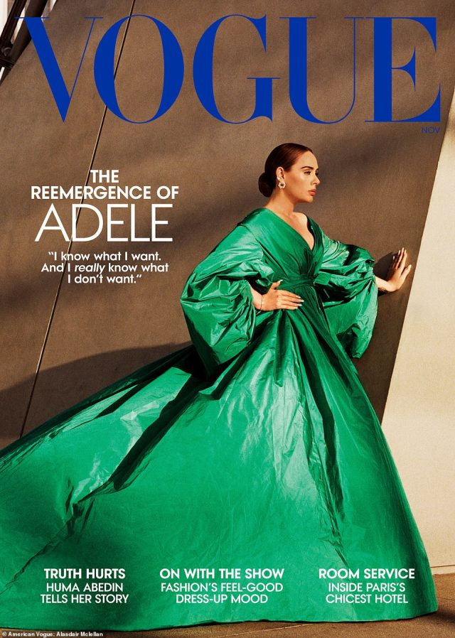 Style: She changed into a dramatic green dress for another look that was cinched in at the waist and featured statement sleeves