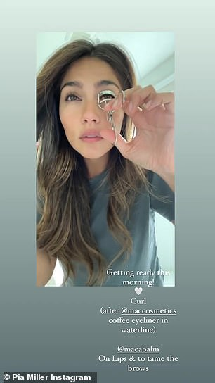 Routine: First the Chilean beauty applied Mac cosmetics coffee liner in her waterline before curling her eyelashes. She then applied the balm to her lips and eyebrows
