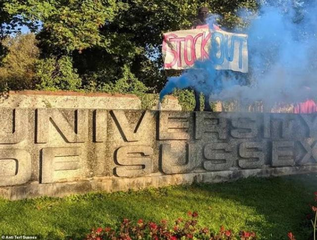 Banners saying 'Stock Out' have been held alongside burning flares at the campus of the University of Sussex this week