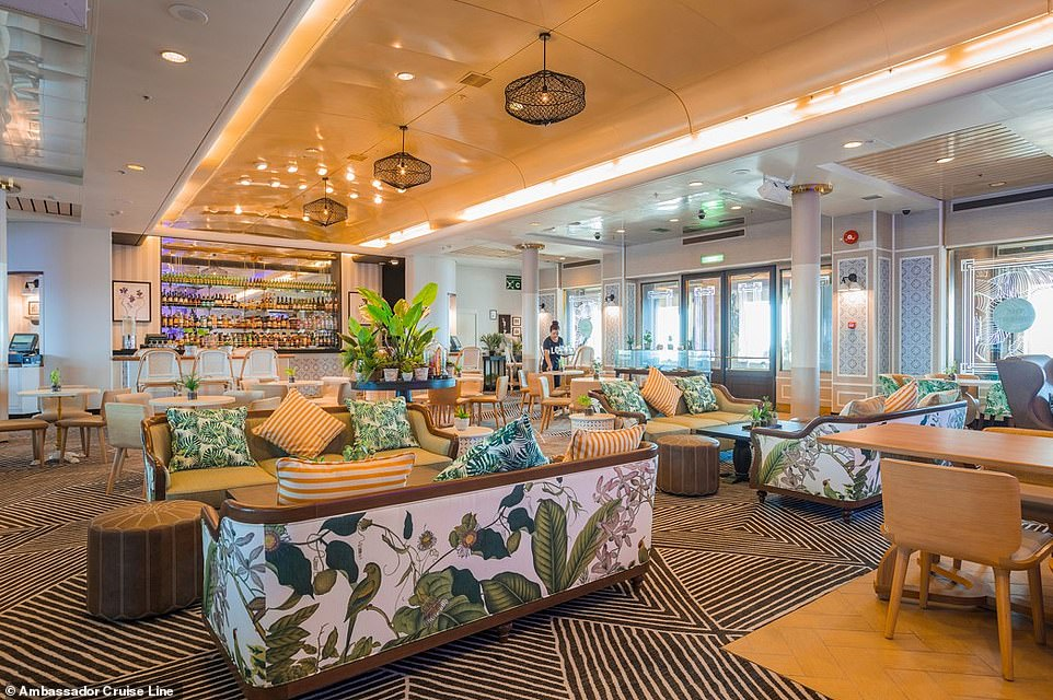 There's a British feel to Ambience, with afternoon teas and gala dinners on offer. Pictured is the ship's lounge
