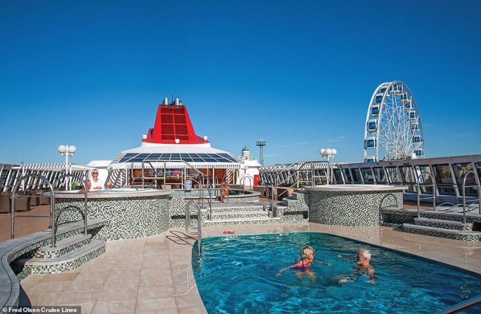 Prices for the mini-cruise start from £799 per person. Pictured is one of the swimming pools aboard the Braemar