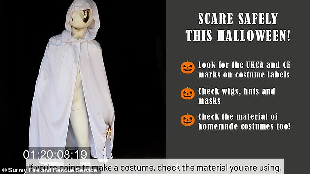 Some of Surrey Fire and Rescue Service's tips included wearing clothes underneath the costume to add an extra layer of protection for your children