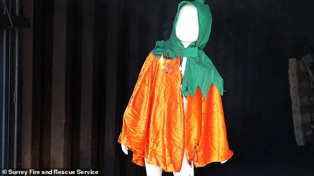 The Surrey Fire and Rescue Service made the video to warn parents of the dangers Halloween costumes can pose due to their materials, as well as giving tips and safe alternative options