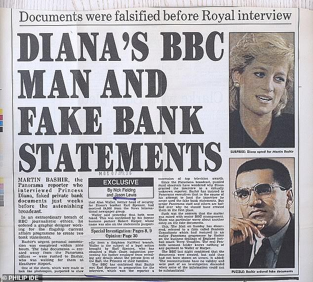 How the Mail reported the story at the time.The BBC apologised in May after an inquiry by Lord Dyson in May found Bashir had used 'deceitful' methods which were later covered up by a 'woefully ineffective' internal investigation by Tony Hall, who later became BBC director-general