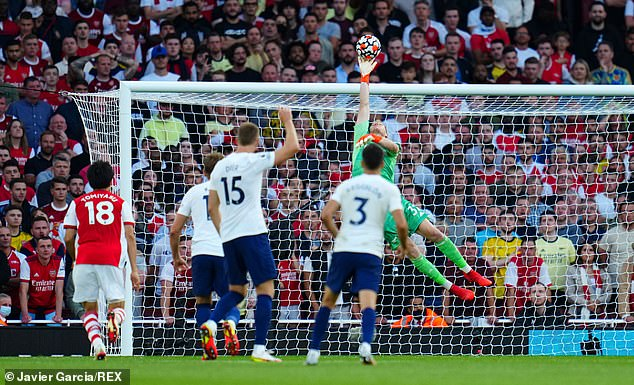 During the north London derby Ramsdale made a stunning late save to keep Spurs at bay