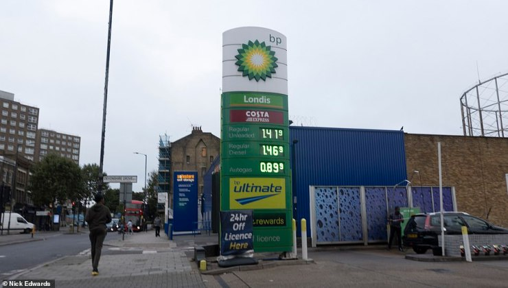 The price of fuel is displayed at a BP garage on the Old Kent Road this morning
