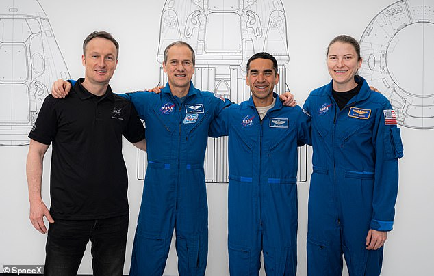 Raja Chari (second from right) will become only the second rookie commander of the spacecraft, and will join Thomas Marshburn (left) and Kayla Barron (right) from NASA and Matthias Maurer (second left) from ESA.