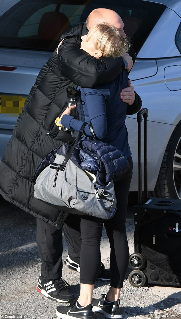 Lovely: The 58-year-old Coronation Street star apparently had a good practice session as she shared a joke before giving her friend a warm hug.