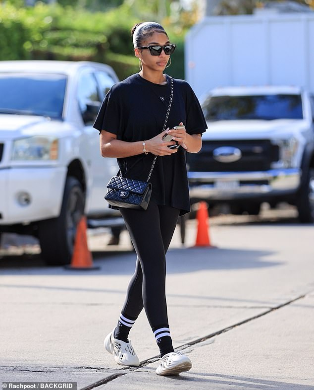 Out and about: Lori Harvey didn't look like she had broken a sweat as she emerged from a Pilates class in West Hollywood on Friday