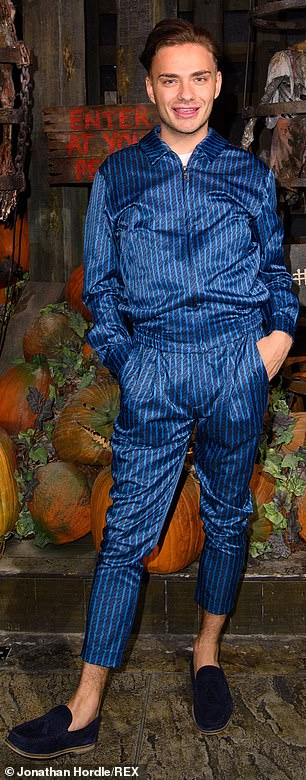 Low-Key: Freddie Bentley kept things casual in a chic pinstripe blue zip-up jacket and matching trousers, which he completed with a pair of navy loafers.