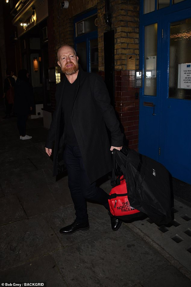 Heading Home: Soon after, she co-starred Jake Wood, 49, who kept warm in a charcoal wool coat and matching trousers.