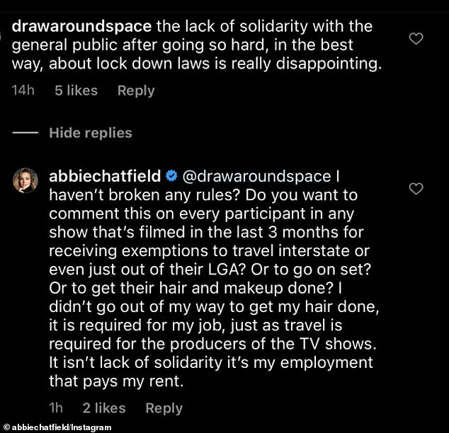 Disappointed: Another critic accused her of failing to show 'solidarity with the general public' and suggested she should have refused the hair treatment.Abbie again reminded her trolls she hadn't broken any rules, adding: 'It isn't lack of solidarity. It's my employment'