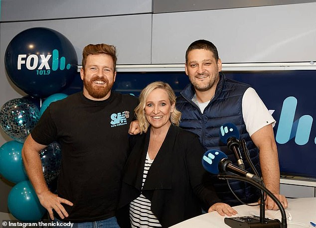 Safety first: Top Melbourne radio stations Fox FM and Triple M forced to shut down and send staff home after an employee tested positive for Covid. Pictured is Fox FM stars Nick Cody, Fifi Box and Brendan Fevola
