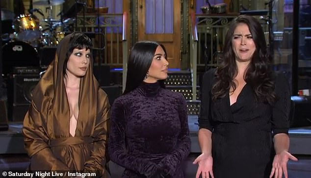 Hilarious:Kim could be seen brutally shutting down suggestions from Cecily Strong and Halsey that they could form a girl group, before sharing her bewilderment about whether she has to write her own sketches