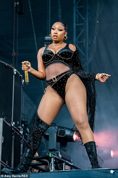 Superstar: Megan Thee Stallion commanded the stage in a skimpy bedazzled bodysuit during her performance at the star-studded Austin City Limits Festival on Friday afternoon