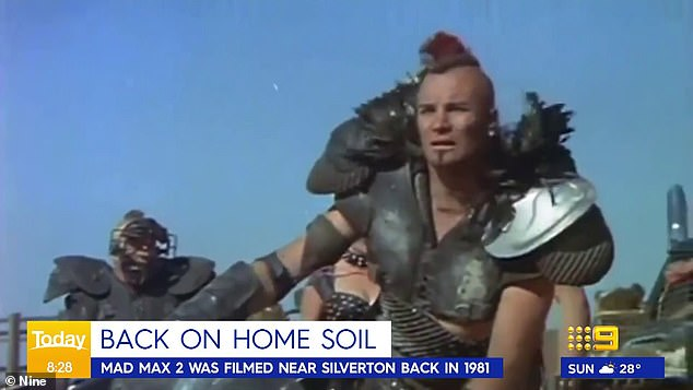 'I'm sure they're going to be as excited as they were forty years ago': Price reflected on the filming of Mad Max 2, aka The Road Warrior, which took place in the same area four decades ago. Pictured: Australian actor Vernon Wells as Wez in Mad Max 2