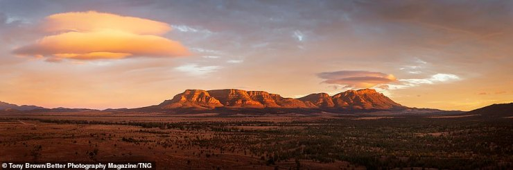 Tony Brown won a Gold Award in the Classic Landscape category with this panoramic shot taken a sunset and titledWilpena Clouds
