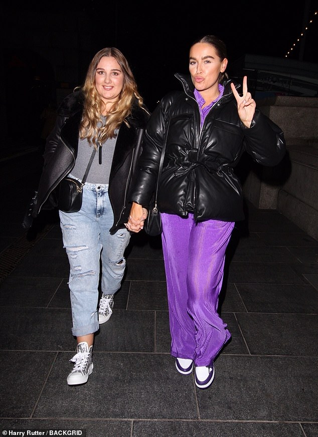 Bold look: The Only Way is Essex's Chloe Ross (right) stood out in a quirky purple ensemble