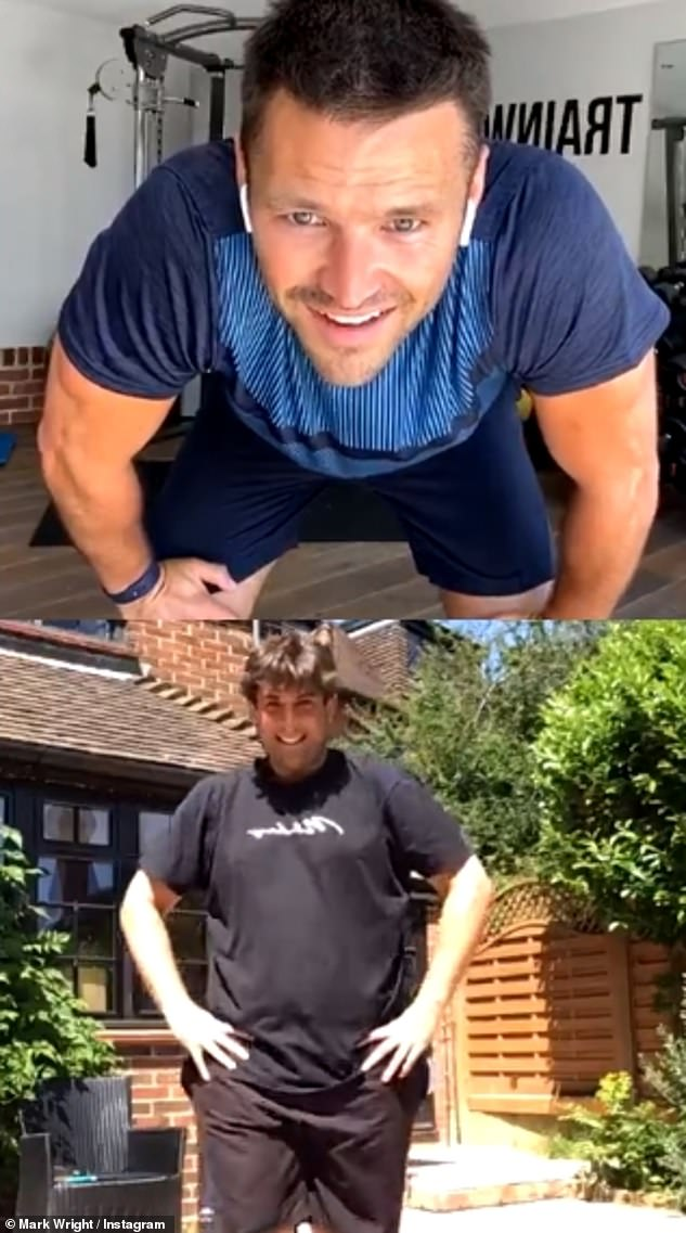 Working out: James enlisted the help of close friend and fitness fanatic Mark Wright, and the pair took part in online workouts together.