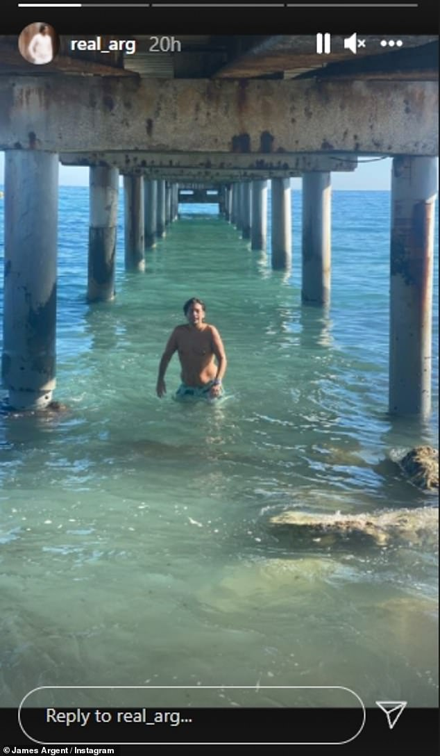 Holidaying: The 33-year-old showed his slimmed-down figure as he took a dip in the waters by Marbella Club Hotel