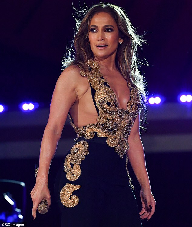 'I've packed on the kilos, and I just have to keep reminding myself that I'm doing the best I can. I've got a girl-crush on JLo, but I look at her, and all of that working out and all of that dedication is not me,' she added. JLo - Jennifer Lopez - is pictured recently